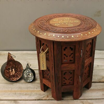 Small Side Table Wooden Round Coffee Lamp End Brown Hand Carved Indian Home 30cm
