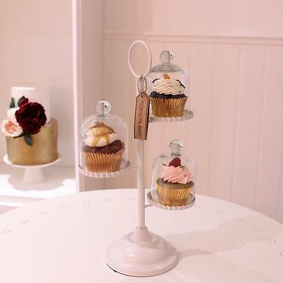3 Tier Cupcake Stand Each with Individual Glass Dome and Metal Base Cake Making