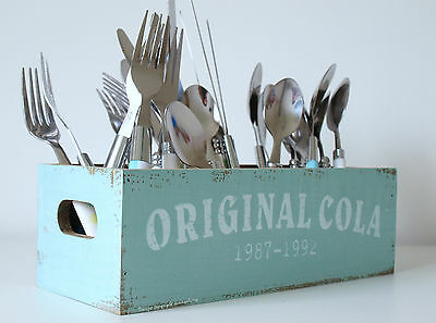 Cutlery Utensils Holder Retro Wooden Distressed Box for Knives Forks Spoons