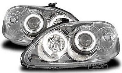 Pair of of headlights with Angel Eyes Honda Civic 96- 98 Chrome-plated