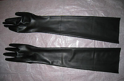 Latex Handschuhe superlang  Schwarz Black Gloves Englisches Latex  Gr. S M L XL