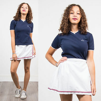 Vintage 90's Kappa Polo T-Shirt Womens Fitted Casuals Sports Retro Navy Blue 10