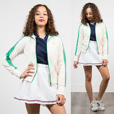 Vintage 90's Puma White Green Tracksuit Jacket Top Casuals Sports Retro 8