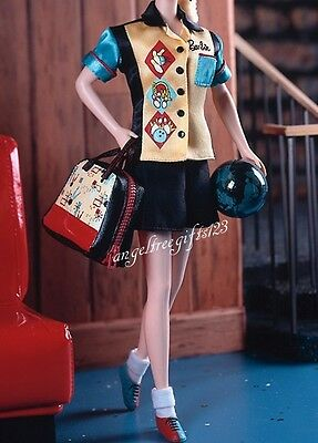 Barbie vintage style bowling outfit complete with ball fits silkstone royalty