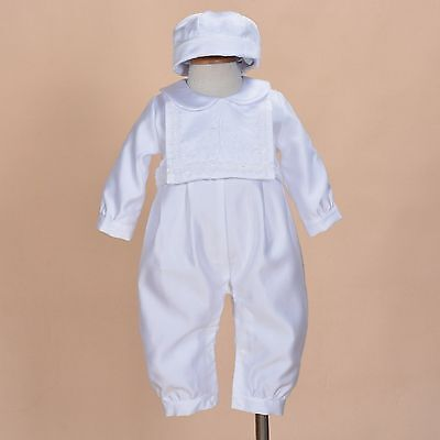 Cinda Boys Satin Christening Romper Set with Hat and Bib 3-6 to 12-18 Months