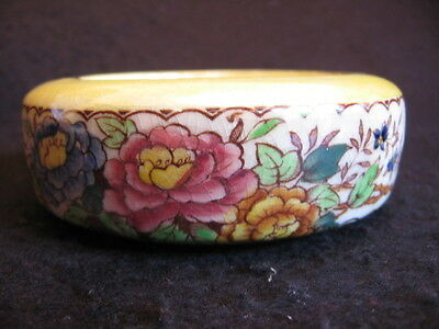 VINTAGE MALING HAND-PAINTED 'PEONY ROSE' POSY BOWL in YELLOW  #6571 c.1953