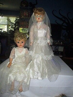 "2 - VINTAGE Eegee BRIDE Doll 28"" HARD POSABLE PLASTIC  and RUBBER DEBUTANTE"