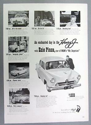 Original 1951 Kaiser Fraser Ad Featuring the Henry J Sedan Owned by Ezio Pinza
