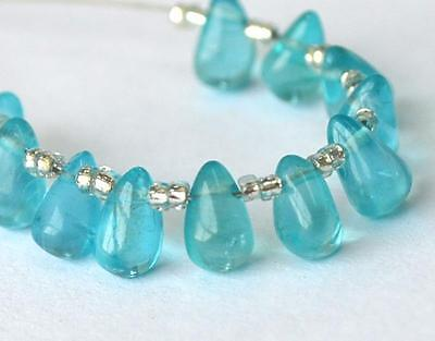 Fine Apatite Beads Briolette 3.5X6.5 - 4X7 Mm 11 Pcs Natural Gemstone #d561