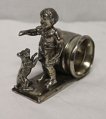 Antique Silver Plated Figural Napkin Ring Victorian circa 1880 Kate Greenway