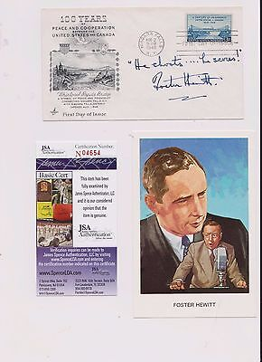 Foster Hewitt NHL Hockey HOF Announcer Canadiens Autographed FDC JSA Certified