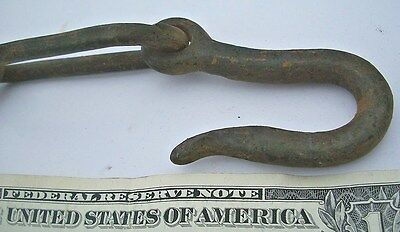 Nice Looking, Antique, Blacksmith Forged Hook & Chain