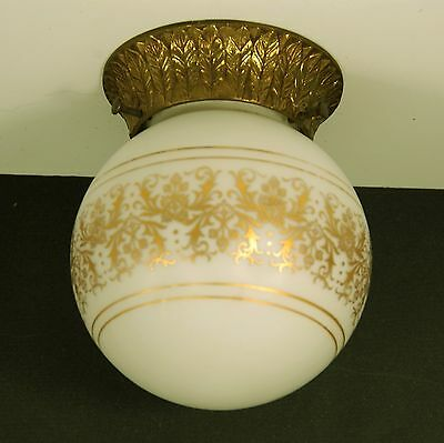 Vintage Flush Ceiling Light Fixture with Brass Base and Painted  Frosted Globe