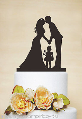 Our stunning silhouette Bride & Groom WITH LITTLE BOY/GIRL Wedding cake Toppers