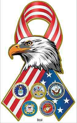 """USA Patriotic Decal Eagle with all 5 Military Seals 4"""" 1/4""""  X  6"""" (Made in USA)"""