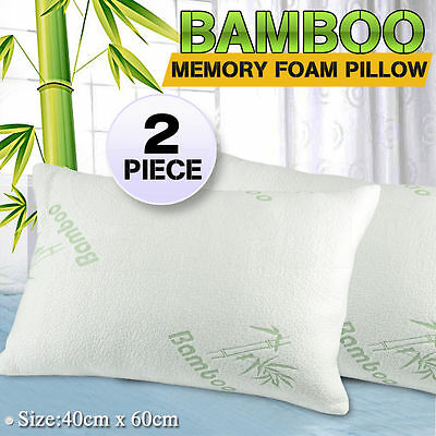 2x Luxury Bamboo Cover Maximum Support Shredded Memory Foam Pillow 60x40cm
