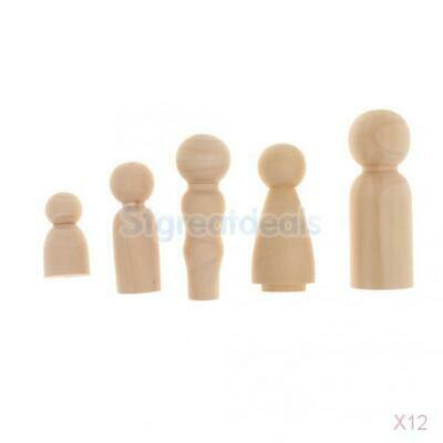12x 5pcs Wood Peg Doll Little People Family Child Wooden Family Cake Topper
