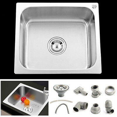Square Stainless Steel Single One Bowl Small Kitchen Washing Sink 420mm X360mm