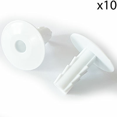 10x 8mm White Single Cable Bushes -Feed Through Wall Cover-Coaxial Hole Tidy Cap