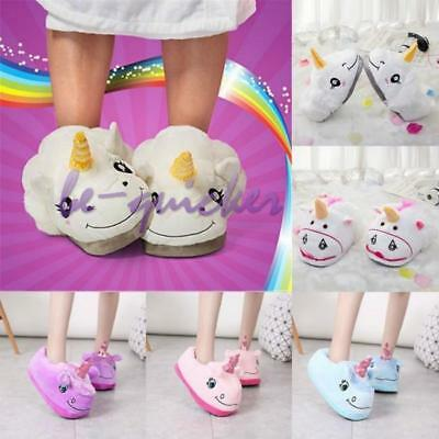 Mens Womens Plush Winter Warmer Soft Cute Home Indoor Unicorn Slippers Shoes B