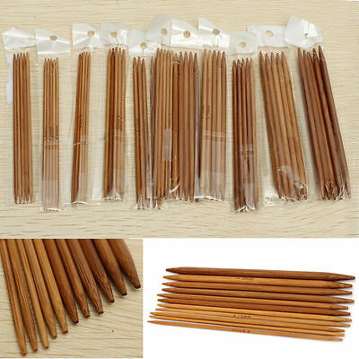"""55PCS 5"""" 11 Sizes Double Pointed Carbonized Bamboo Knitting Needles Home Crochet"""