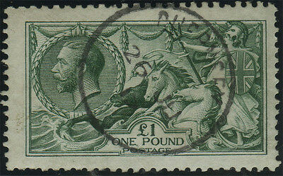 SG 404 £1 bluish green, fine/very fine used example with complete CDS, Cat £1600