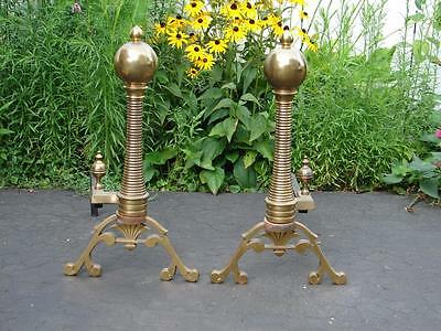 Nice Set Decorative Brass Ball Fireplace Andirons • CAD $158.11