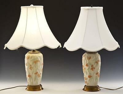 Pair Of Phoenix Consolidated Art Glass Table Lamps Bittersweet Pattern