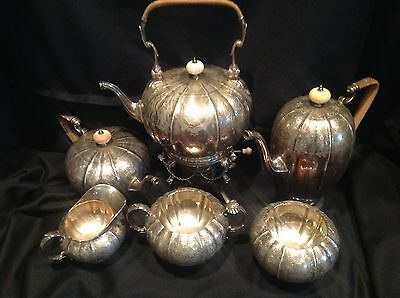 Elaborately Chased Antique Marcus & Co. 6 Piece Sterling Silver Tea & Coffee Set