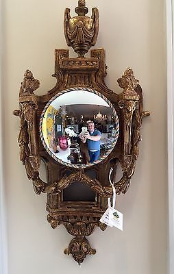 Thomas Morgan Gold Leaf Clock Face Convex Mirror