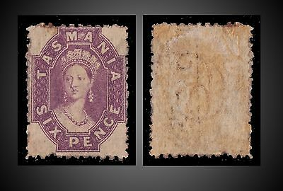 1871 Tasmania Queen Victoria Six Pence Purple Mint With Gum Hinged  Sg.136