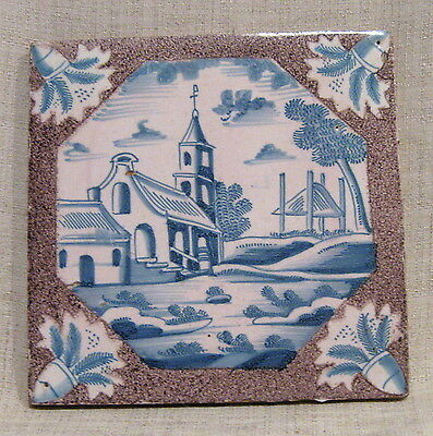 """Antique 18th Century 5"""" Delft Tile with Church"""