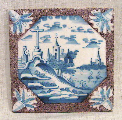 """Antique 18th Century 5"""" Delft Tile with Church on a Hill"""