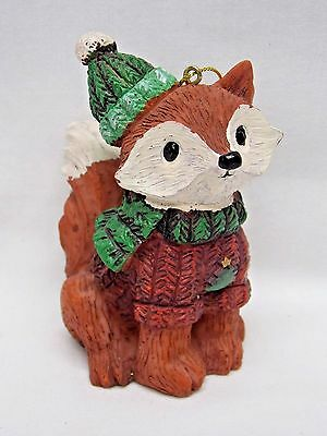 Red Fox  wearing Hat,Scarf,Sweater Figurine Christmas Tree Ornament 4 In String