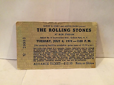 The Rolling Stones Concert Ticket Stub 7-14-1978 Buffalo NY