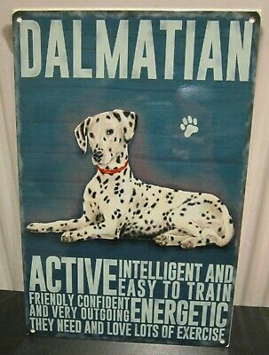 "DALMATION DOG 12""X 8"" METAL SIGN  WITH CHARACTER DESCRIPTIONS 30X20CM/ dogs"