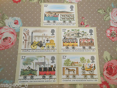 Royal Mail Stamp Collection Postcards 1980 Liverpool And Manchester Railway 1830