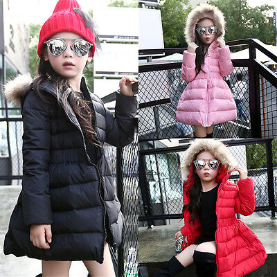 New 3 Colors Cute Girls Fashion Down Jacket Winter Warm Coat With Fur Collar