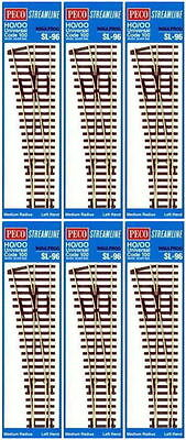 Peco Code 100 Oo/ho Insulfrog Medium Radius Left Hand Point Bulk 6 Pack Pesl96B