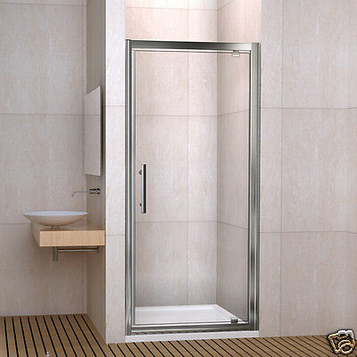 Pivot Hinge Shower Door Enclosure and Tray Side Panel 6mm Glass Walk In Screen