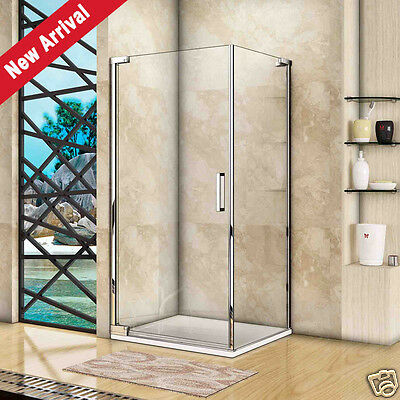 New Frameless Pivot Shower Door Enclosure 8mm Glass Screen Side Panel Stone Tray