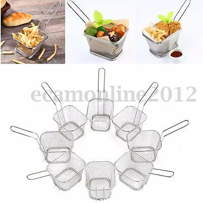 8Pcs Mini Mesh Wire French Fry Chips Baskets Net Strainer Kitchen Cooking Tools