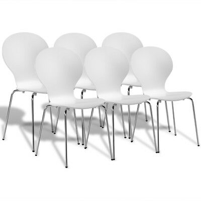 6 Stackable Butterfly Dining Chairs White Bentwood Wooden Steel Lightweight