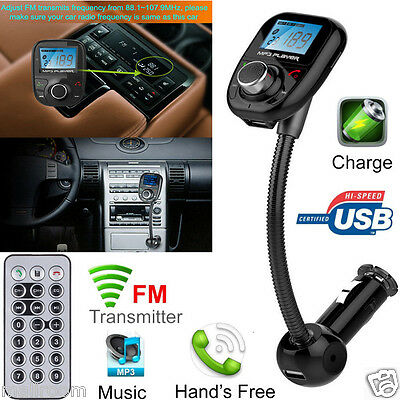 Car Kit Handsfree Wireless Bluetooth FM Transmitter MP3 Player USB LCD Modulator