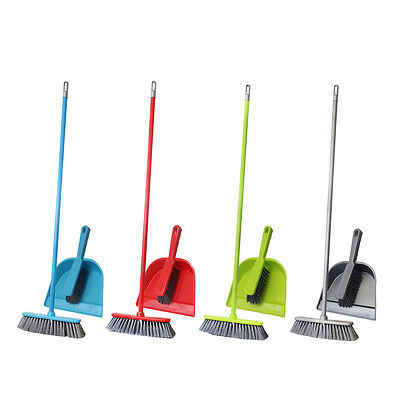 Cleaning Dust Brush Pan Set Soft Bristle Sweeping Broom Dustpan Kitchen Home