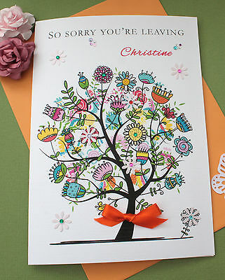 """Handmade Personalised Card New Home - Sorry You're Leaving Large """"Flower Tree"""""""