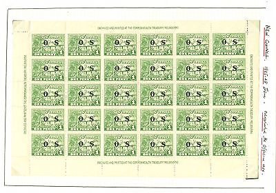 SG 022 New Guinea 1925-31 1d green. Complete pane of thirty (6x5)...