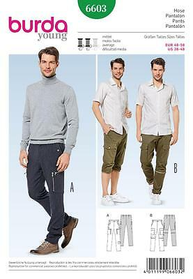 "Burda Sewing Pattern Young Mens Trousers & Shorts Size 36 - 48"" 6603"