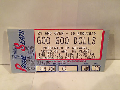 Goo Goo Dolls Concert Ticket Stub Buffalo NY 12-8-1994