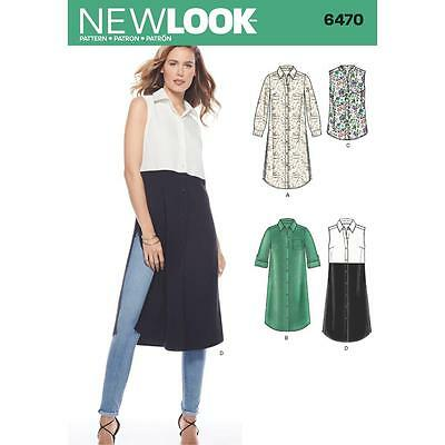 New Look Sewing Pattern Misses' Front Buttoned Tunic  Dress Size 8 - 20 6470